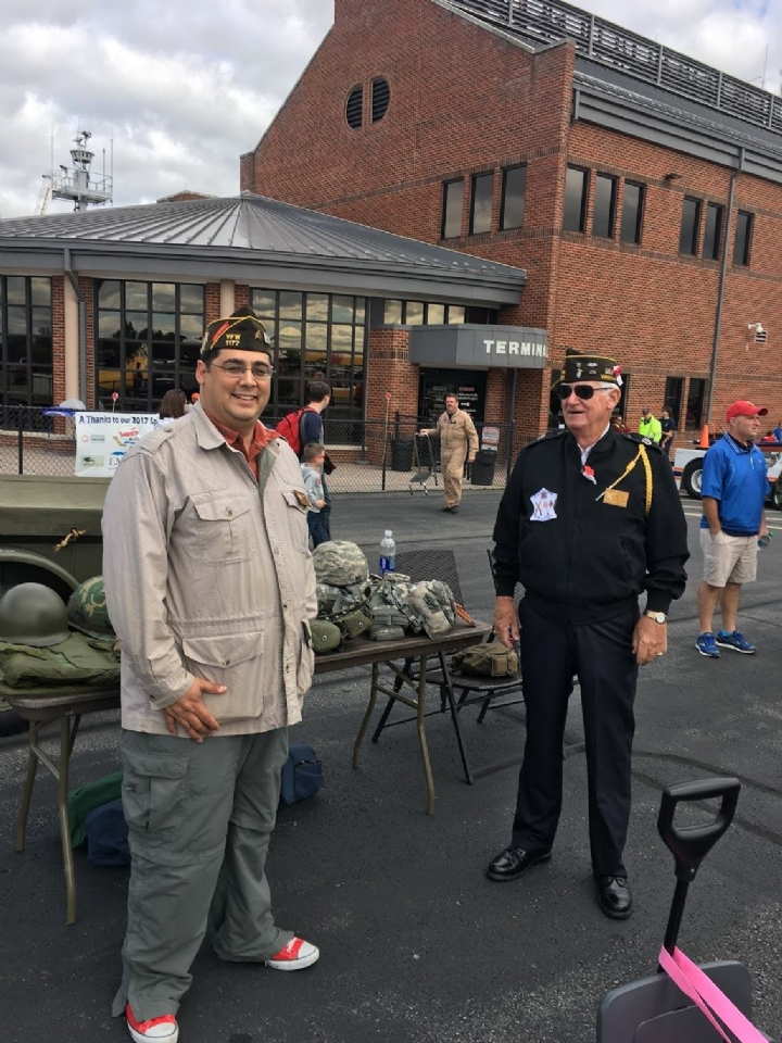 Post Quartermaster Les Flores and Post Honor Guard Commander Bob Cranson at the VFW Display at the airshow.